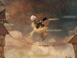 Tyttö lentää pelikaanilla