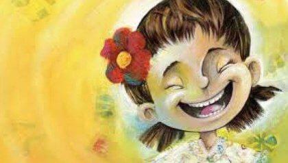 Tyttö nauraa