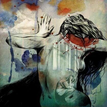 Nainen tuskissaan