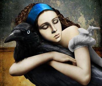 Tyttö halaa lintua