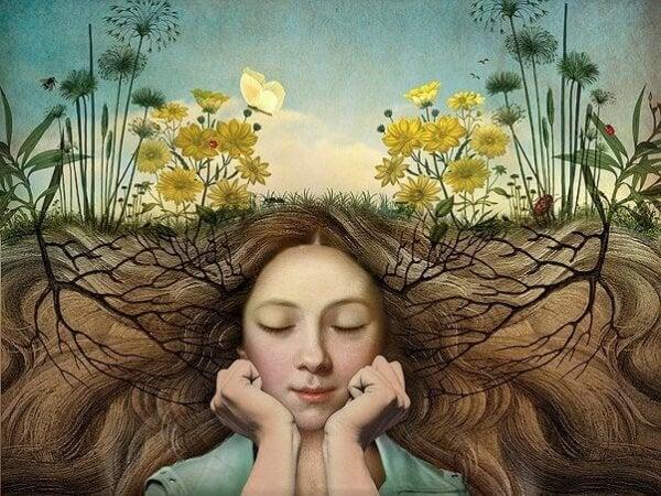 Tytön hiuksissa kasvaa juuria
