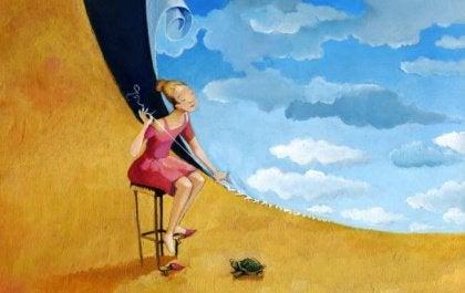 Nainen ompelee taivaan maahan