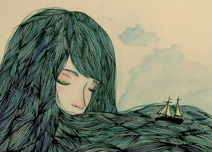 Tytön hiuksen ovat meri