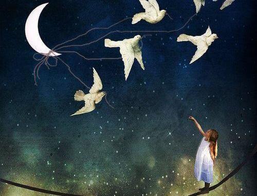 Linnut tuovat tytölle kuun