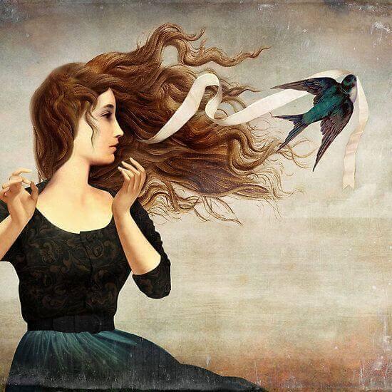 Lintu varastaa tytön hiusnauhan