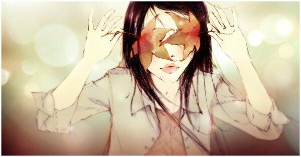 Rakkauden pelko ja tyttö lehdet silmillä