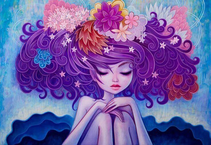 Kukat tytön hiuksissa