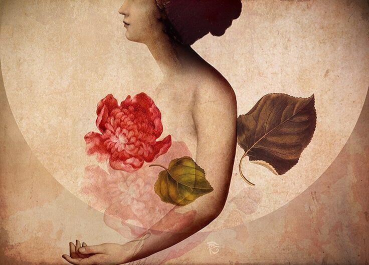 Nainen ja kukka