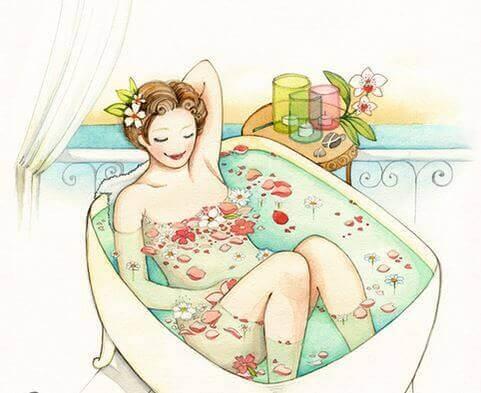 Kauneus nainen kylvyssä