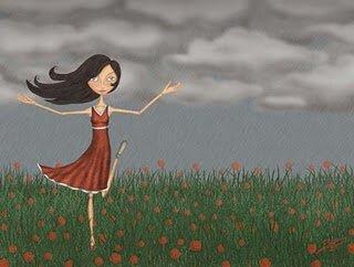 Tyttö antaa anteeksi niityllä