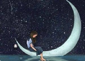 Tyttö istuu kuun päällä