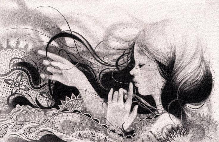 Tyttö pitsimeressä