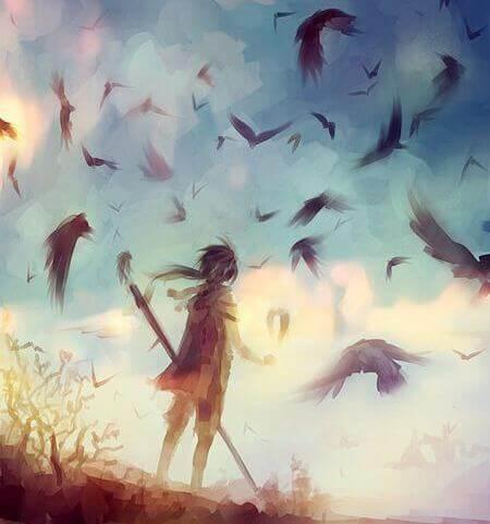 Pelko poika ja linnut pellolla