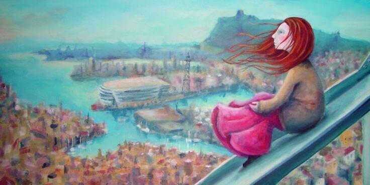 Tyttö unelmoi sillalla