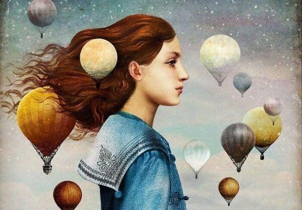 Kuumailmapallot tytön ympärillä
