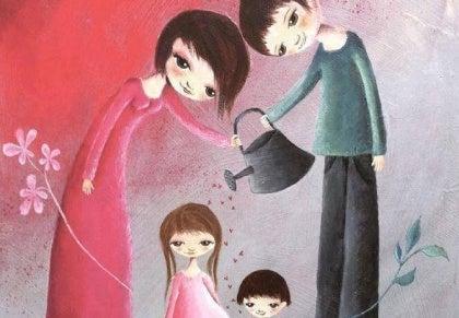 Perhe kastelee kukkia