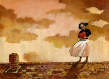 Nainen ja sydän katolla