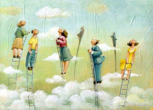 Ihmiset kurkottavat tikapuilta taivaaseen