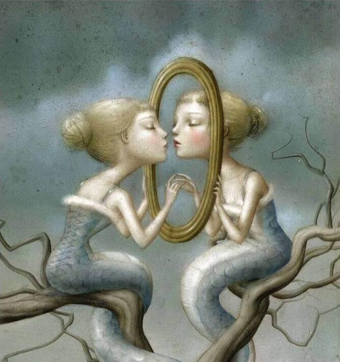 Ihanteellinen ihminen katsoo peilistä