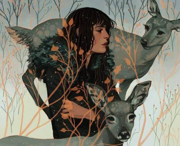 Nainen ja peurat