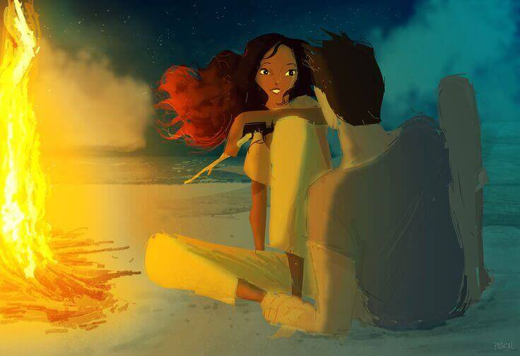 Rakkaussuhteet pari rannalla