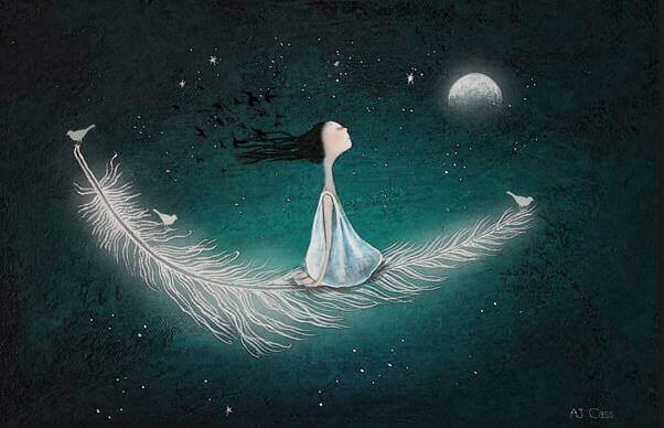 Tyttö lentää höyhenen päällä kuuhun