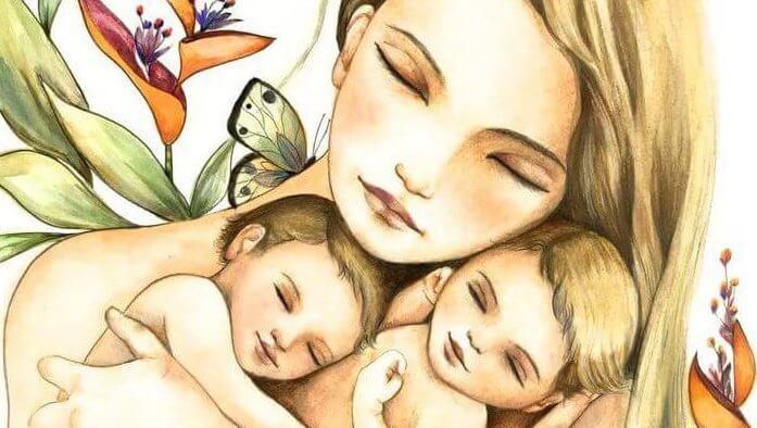 Äiti ja kaksosvauvat