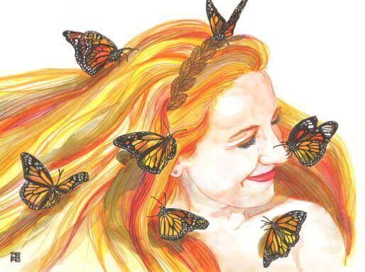 Nainen perhoset hiuksissaan ei kerjää rakkautta
