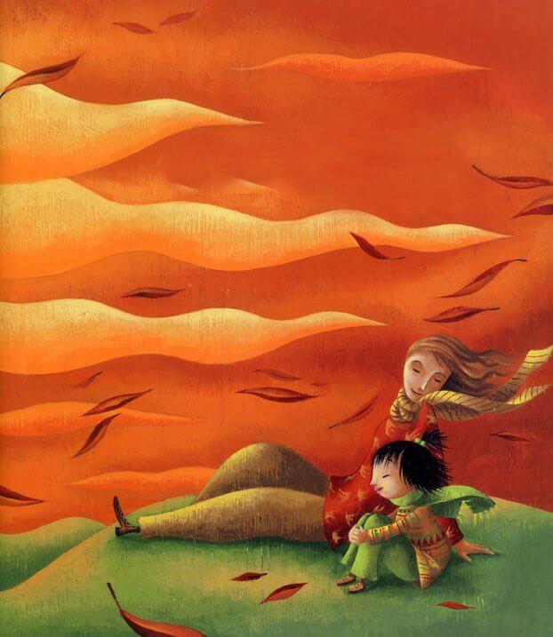 Äiti ja lapsi tuulessa
