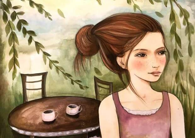 Tyttö ja kaksi kahvikuppia