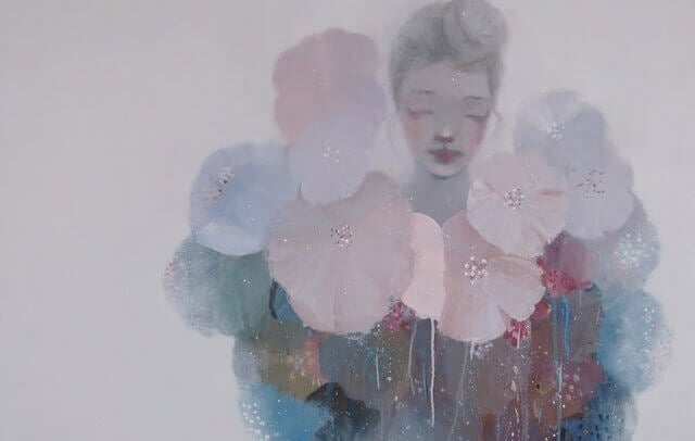 Nainen ja kukat