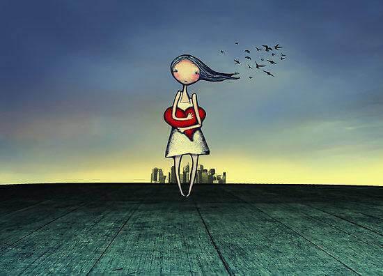 Tyttö kaupungin ulkopuolella