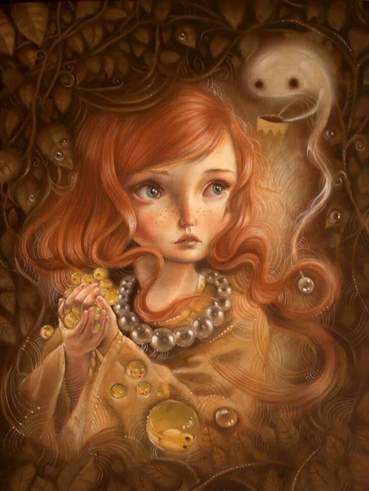 Tyttö kerännyt helmiä