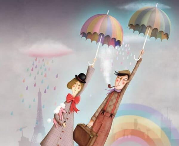 Pariskunta lentää sateenvarjoilla