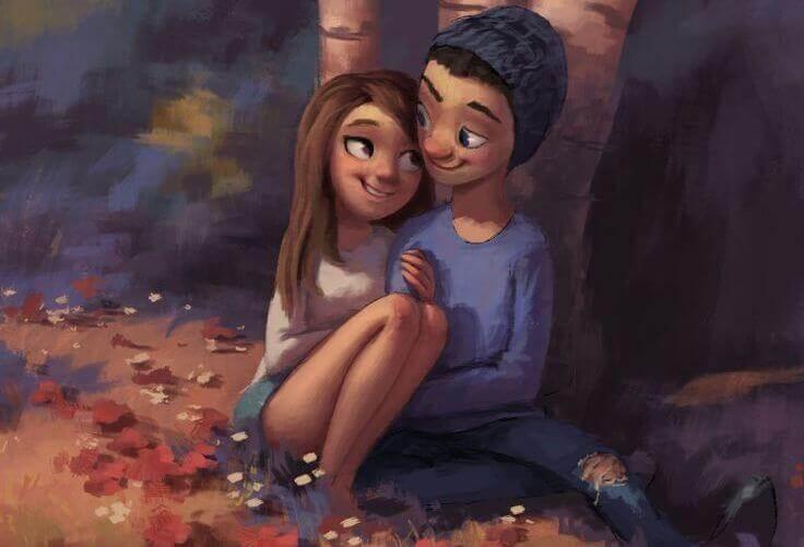 Tyttö ja poika rakastaa