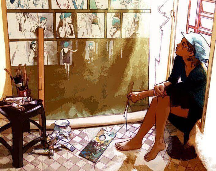 Nainen maalaa