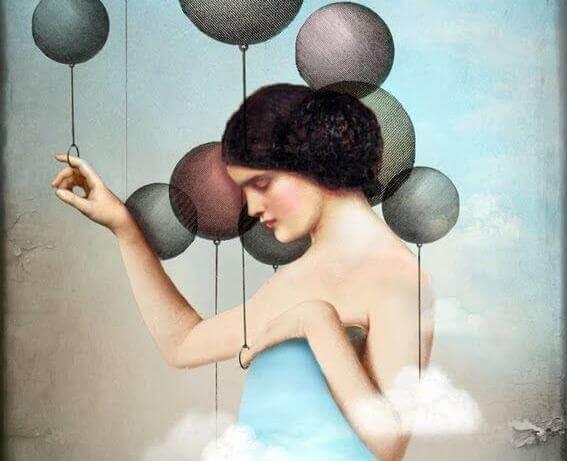 Nainen ja ilmapallot