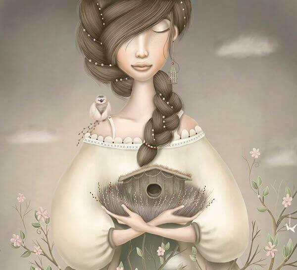 nainen ja linnunpontto