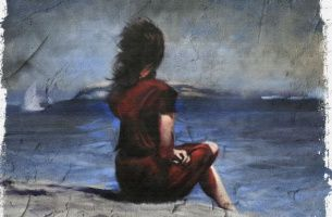 nainen rannalla menetetty tapaus