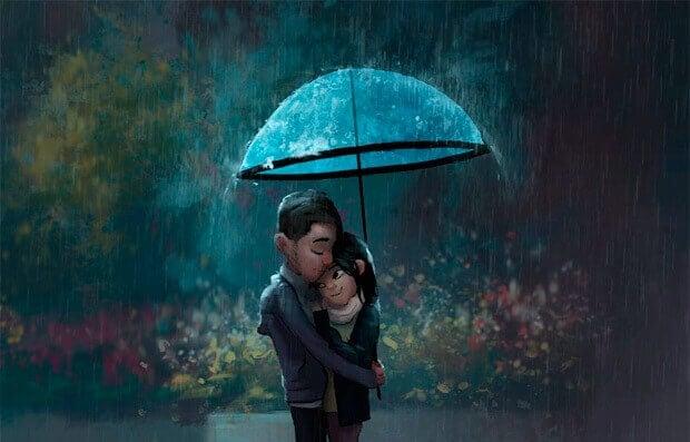pariskunta halaa sateessa