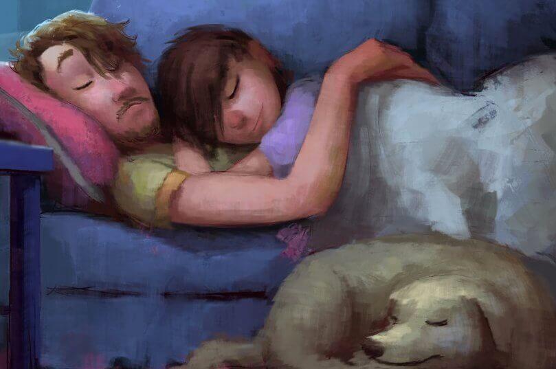 pariskunta makaa sohvalla