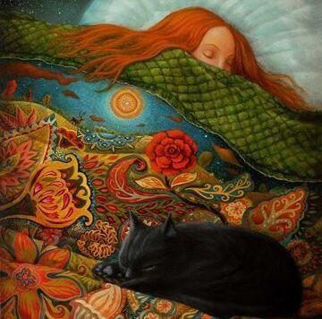 Kissa ja tyttö nukkuvat