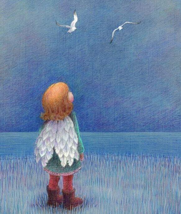 onnellinen lapsi jolla on siivet