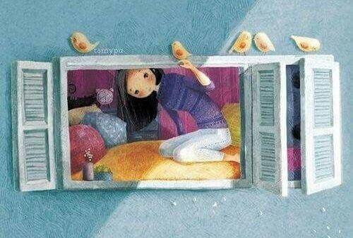 Tyttö ikkunassa