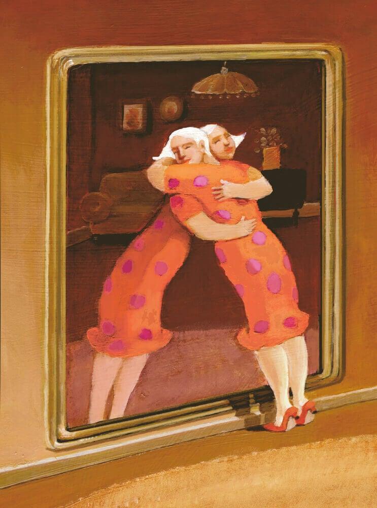 nainen-halaa-peilikuvaansa