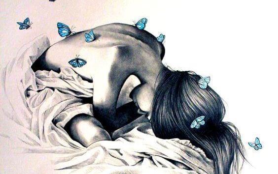 Tyttö perhosvuoteella