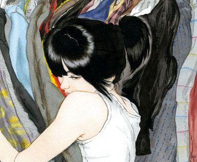Tyttö halaa vaatteita