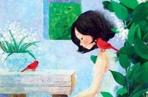 Tyttö ja lintu läsnä