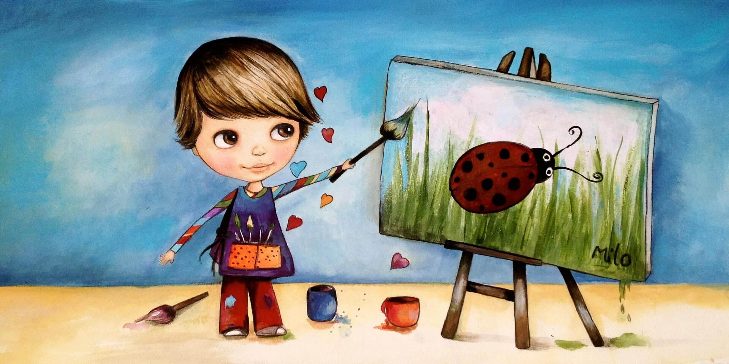 Poika maalaa