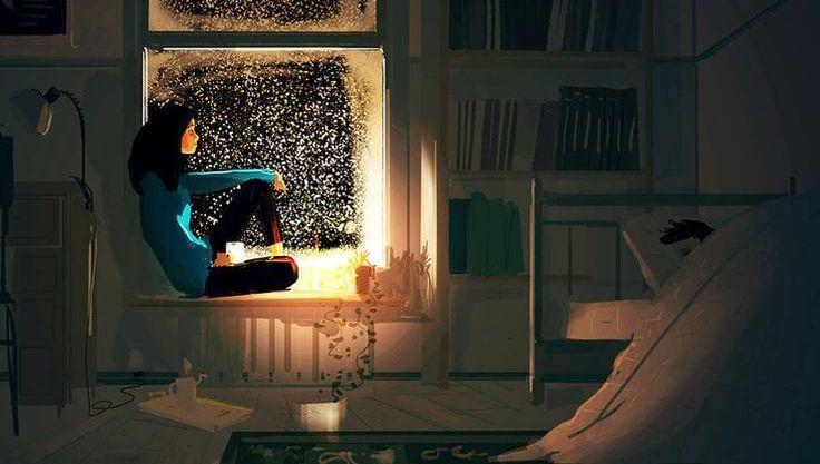 Tyttö ikkunalaudalla